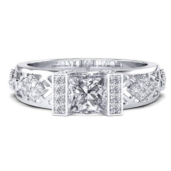 Italo Cathedral Art Deco Created White Sapphire Engagement Ring