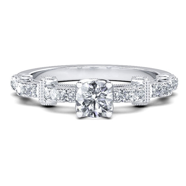 Cathedral Milgrain Round Engagement Ring (0.97 CT. TW.), White