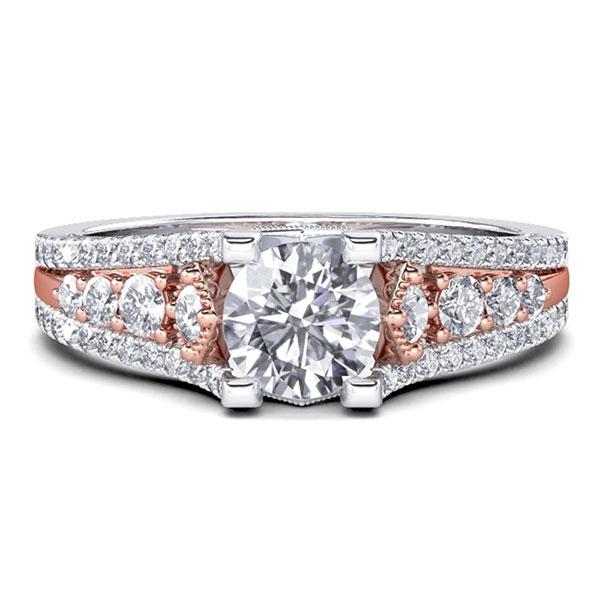 Italo Two Tone Milgrain Created White Sapphire Engagement Ring