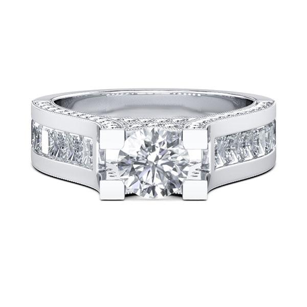 Vintage Milgrain Round Cut Engagement Ring (3.32 CT. TW.), White