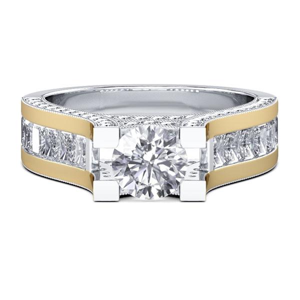 Two Tone Vintage Milgrain Engagement Ring (3.32 CT. TW.), White