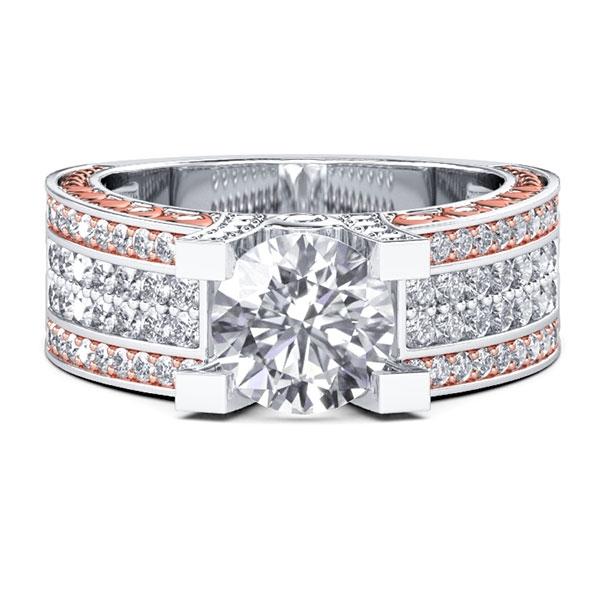 Two Tone Vintage Filigree Engagement Ring (2.09 CT. TW.), White
