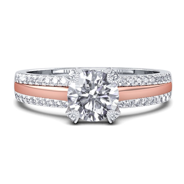 Two Tone Double Row Pave Band Engagement Ring (0.98 CT. TW.), White