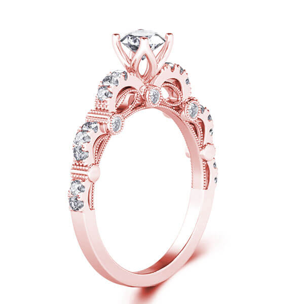 Cathedral Milgrain Rose Gold Engagement Ring (0.97 CT. TW.), White