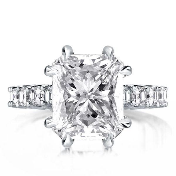 Double Prong Princess Cut Engagement Ring, White