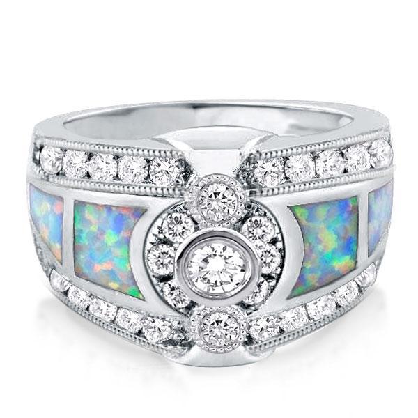 Bezel Opal Sidestone Engagement Ring, White