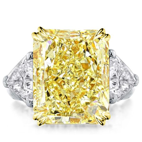Double Prong Three Stone Yellow Radiant Cut Engagement Ring, White