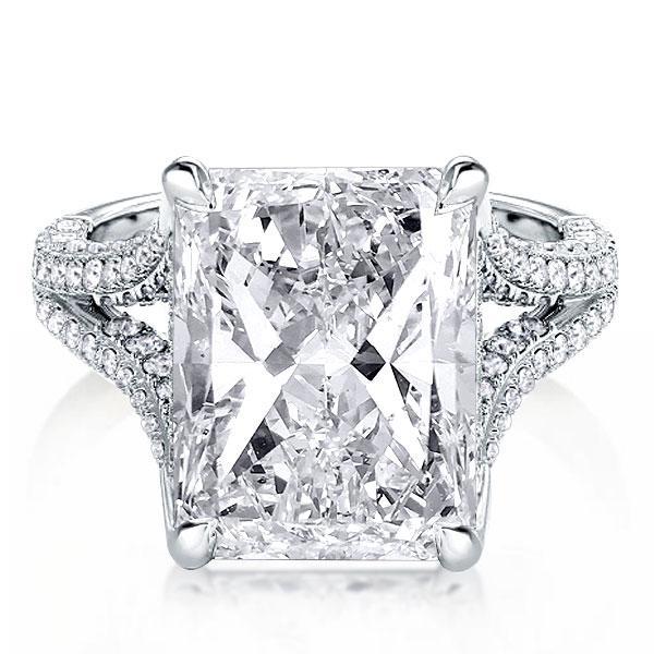Split Shank Radiant Cut Engagement Ring For Women, White
