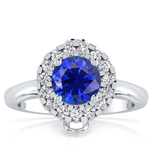 Halo Skull Design Created Round Sapphire Engagement Ring, White