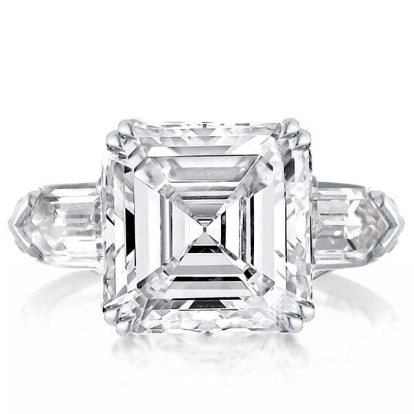 Double Prong Three Stone Asscher Engagement Ring, White
