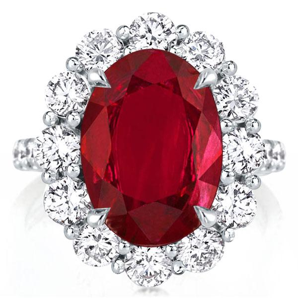 Halo Created Oval Cut Garnet Engagement Ring, White