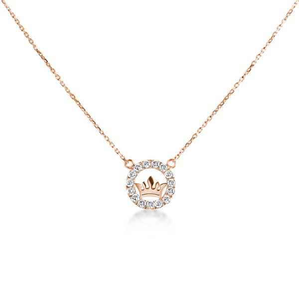 Simple Crown Design Round Cut Rose Gold Pendant Necklace, White