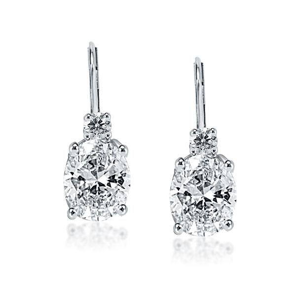 Classic 4 Prong Oval & Round Drop Earrings, White