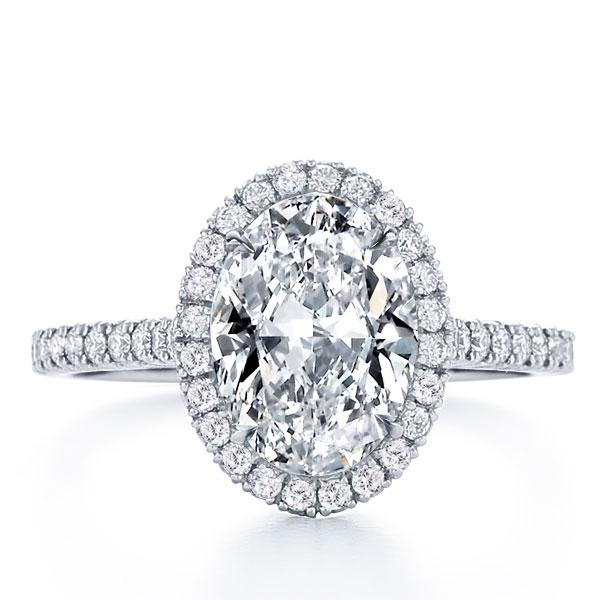 Italo Classic Halo Oval Created White Sapphire Engagement Ring
