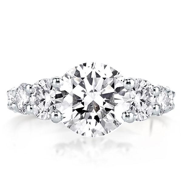 Classic Shared Prong Round Cut Silver Engagement Ring, White