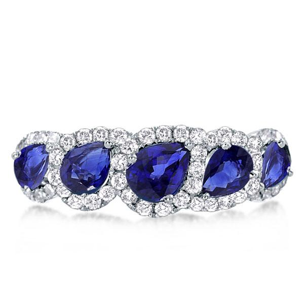 Halo Created Sapphire Pear Cut Five Stone Wedding Band, White
