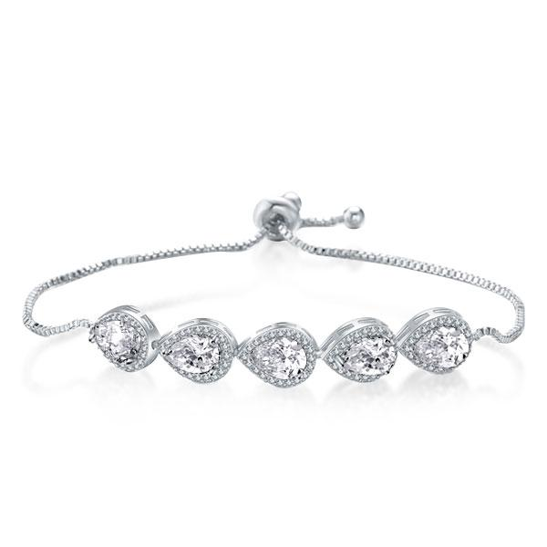 Halo East West Pear Bracelet For Women