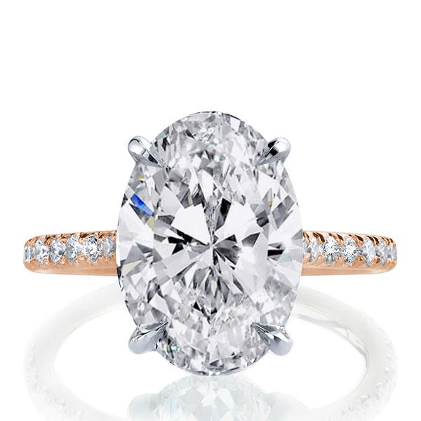 Italo Two Tone Oval Created White Sapphire Engagement Ring