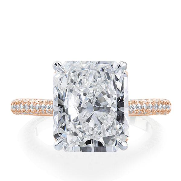 Italo Two Tone Radiant Created White Sapphire Engagement Ring