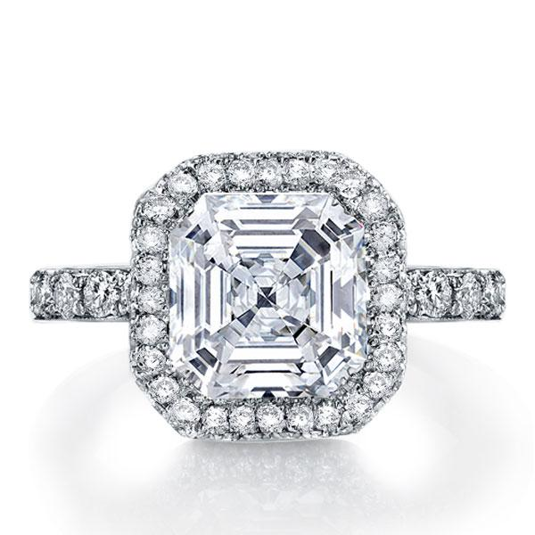 Italo Halo Asscher Created White Sapphire Engagement Ring