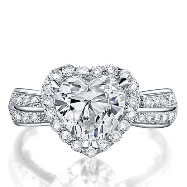 Italo Halo Heart Created White Sapphire Engagement Ring