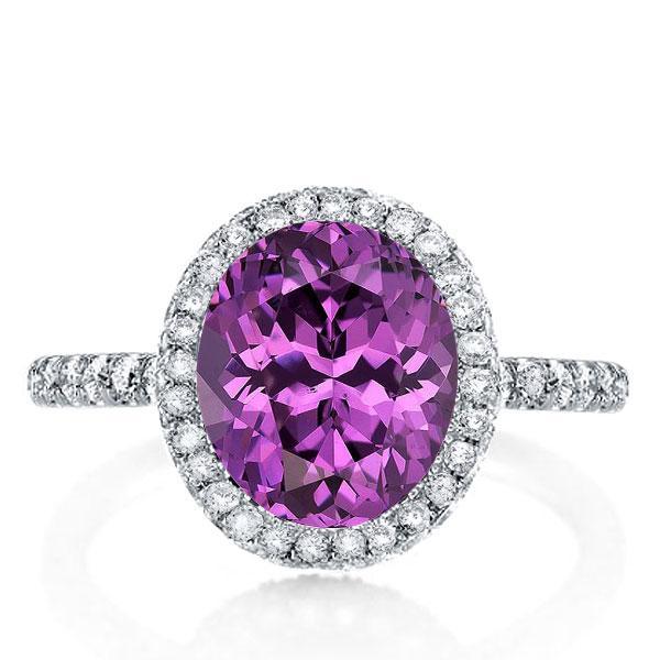 Italo Halo Oval Created Amethyst Engagement Ring, White