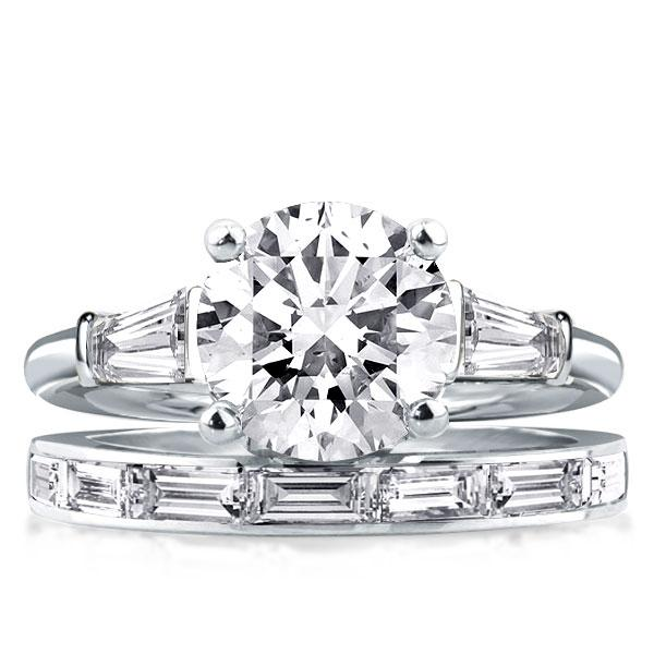 Three Stone Round & Baguette Cut Bridal Set, White