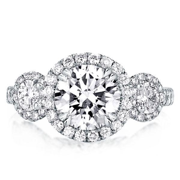 Double Prong Three Stone Round Halo Engagement Ring, White