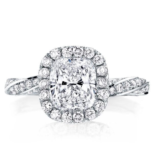 Classic Twist Design Cushion Cut Halo Engagement Ring, White