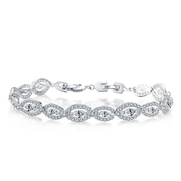 Halo East West Round & Marquise Bracelet, White