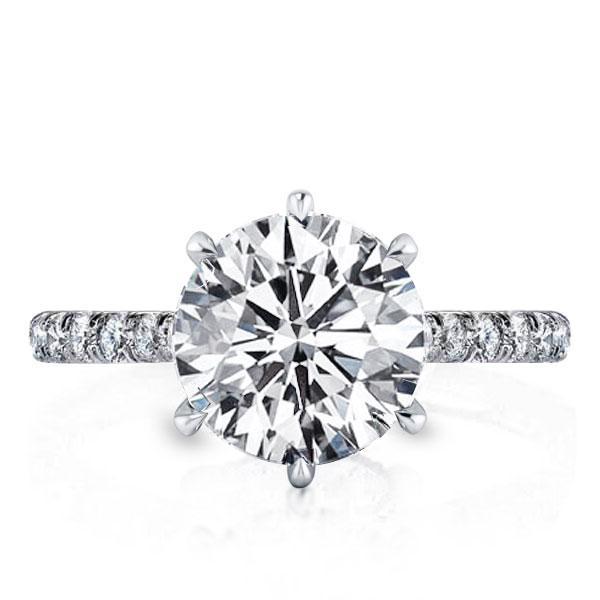 Half Eternity Six Prong Engagement Ring, White
