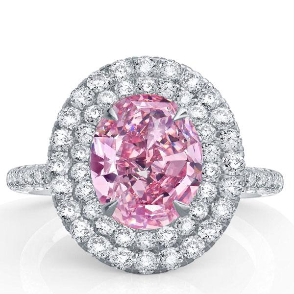 Italo Double Halo oval Created Pink Sapphire Engagement Ring, White