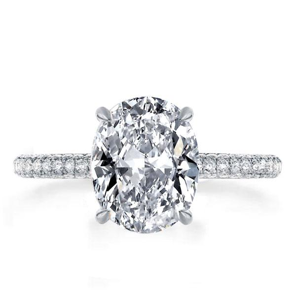 Three Row Shank Oval Engagement Ring, White
