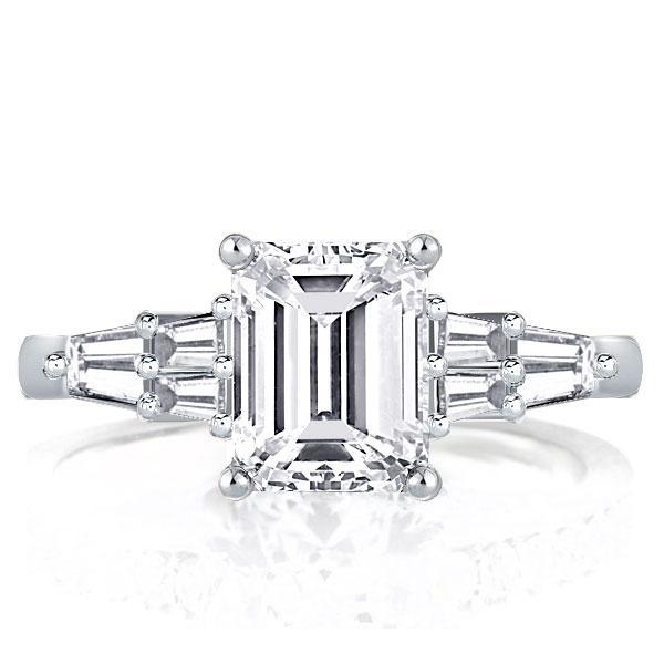 Italo Five-stone Emerald Created White Sapphire Engagement Ring