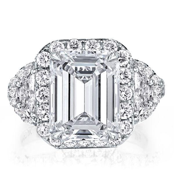 Halo Three Stone Split Shank Emerald Cut Best Engagement Ring, White