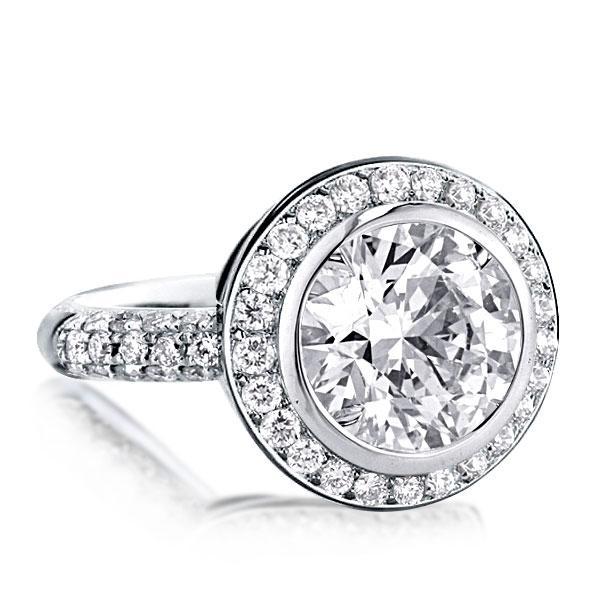 Italo Sparkle Halo Created White Sapphire Engagement Ring