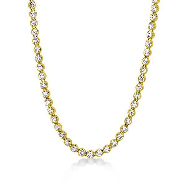 Classic Golden Round Tennis Necklace