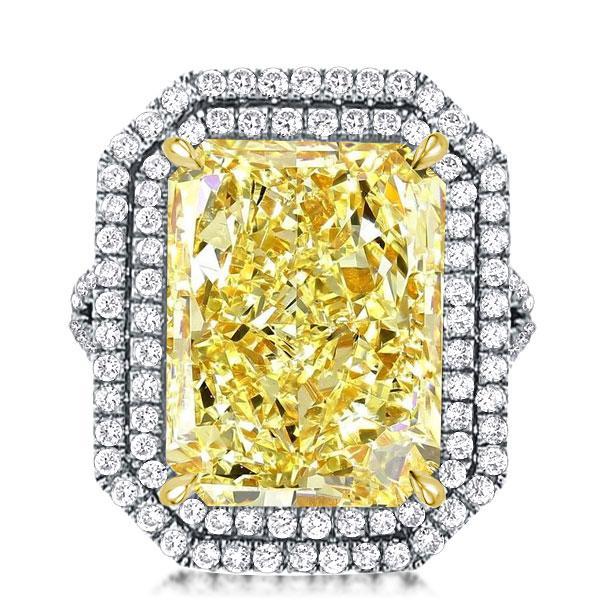 Split Shank Radiant Cut Yellow Double Halo Engagement Ring, White