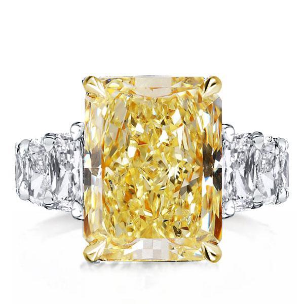 Yellow Radiant Eternity Two Tone Engagement Ring, White