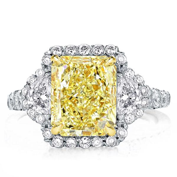 Three Stone Two Tone Yellow Halo Radiant Engagement Ring, White