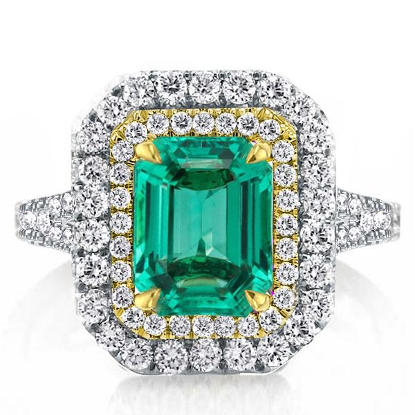 Double Halo Two Tone Split Shank Emerald Green Engagement Ring, White