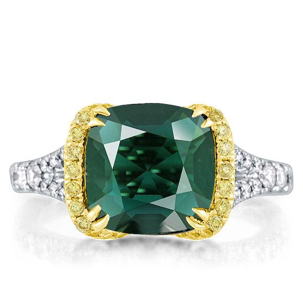 Double Prong Green Cushion Two Tone Halo Engagement Ring, White