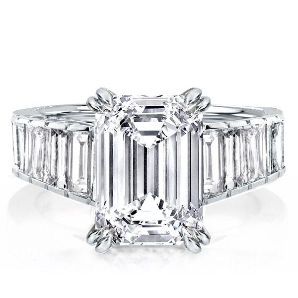 Double Prong Emerald Cut White Sapphire Engagement Ring