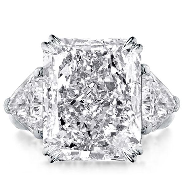Three Stone Double Prong Radiant Engagement Ring, White