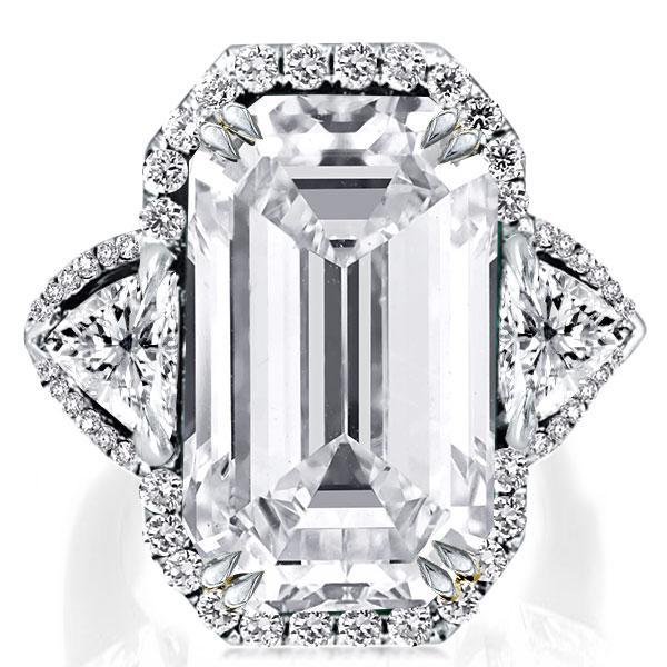 Double Prong Halo Three Stone Emerald Engagement Ring, White