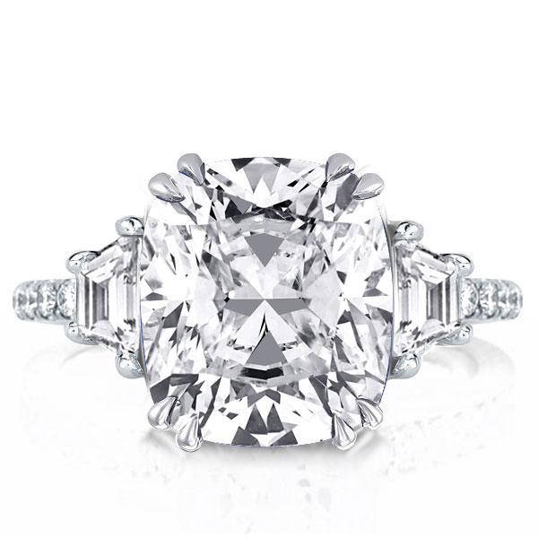 Double Prong Three Stone Cushion Engagement Ring, White