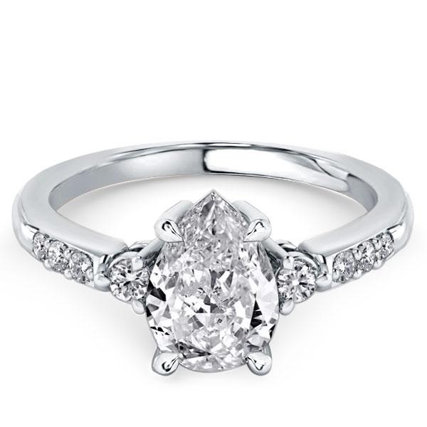 Classic Three Stone Simplicity Duo Side Pear Cut Engagement Ring, White