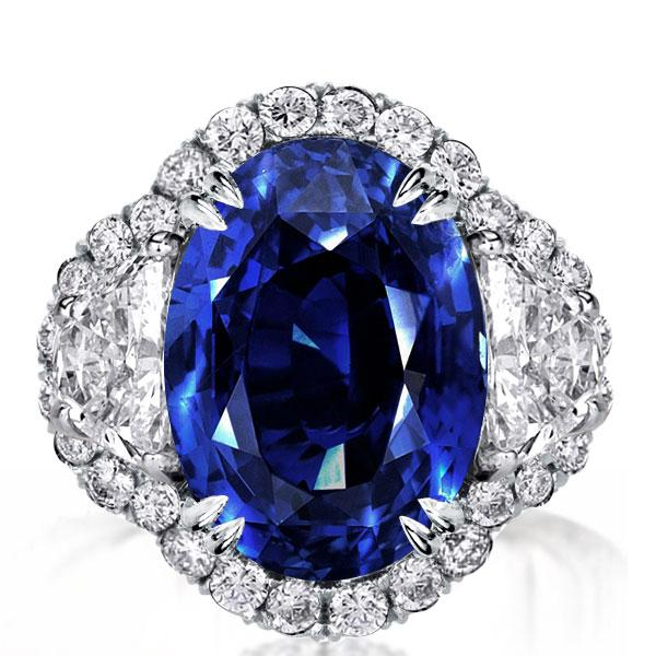 Halo Three Stone Double Prong Blue Oval Cut Engagement Ring, White