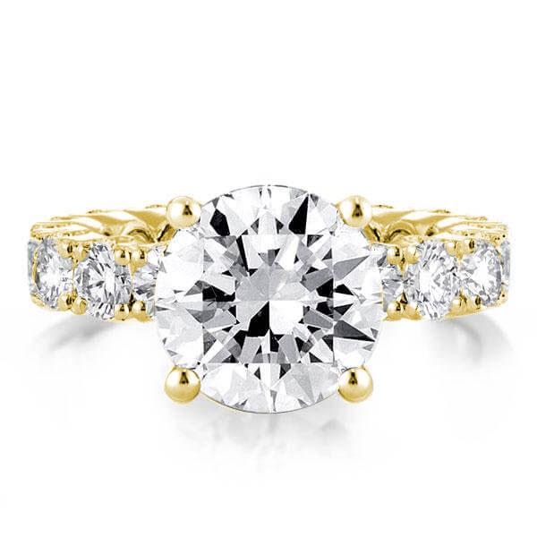 Classic Golden Eternity Round Engagement Ring, White