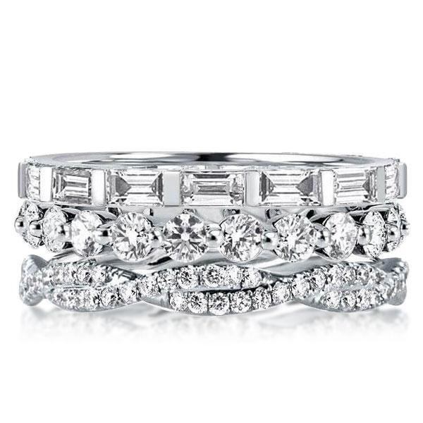 Triple Row Round & Baguette Stackable Band Set, White